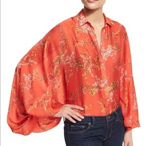 Alexis red floral blouse